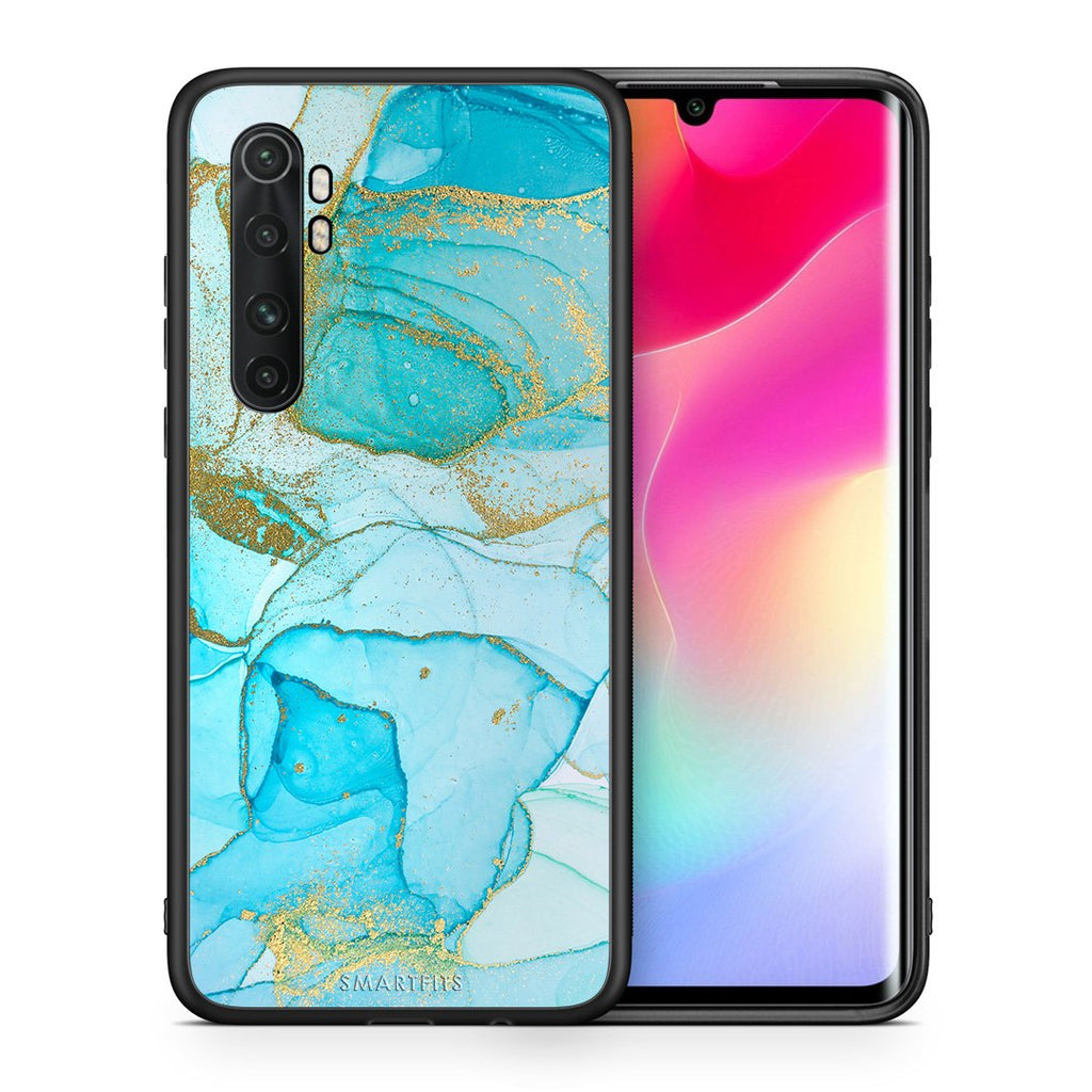 Θήκη Xiaomi Mi Note 10 Lite Turquoise Gold Watercolor από τη Smartfits με σχέδιο στο πίσω μέρος και μαύρο περίβλημα | Xiaomi Mi Note 10 Lite Turquoise Gold Watercolor case with colorful back and black bezels