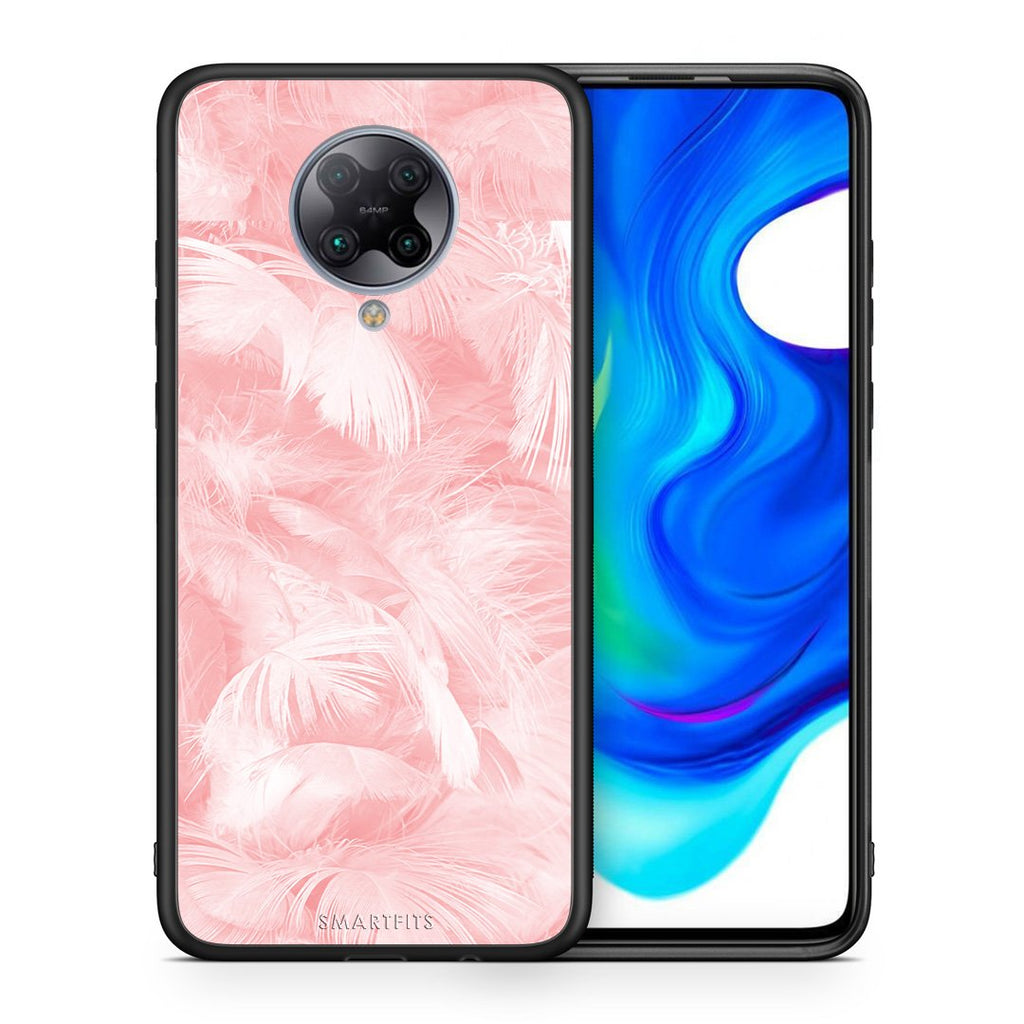 33 - Xiaomi Poco F2 Pro  Pink Feather Boho case, cover, bumper