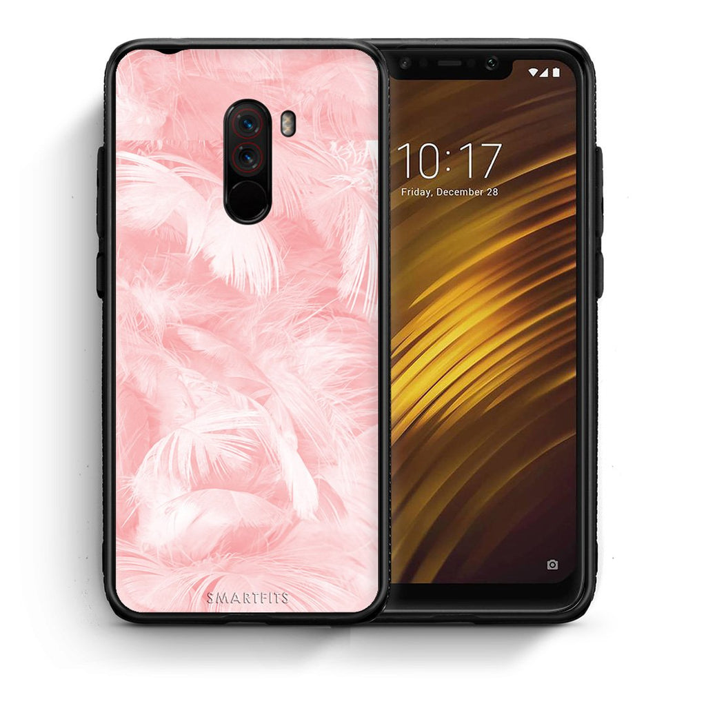 33 - Xiaomi Pocophone F1  Pink Feather Boho case, cover, bumper