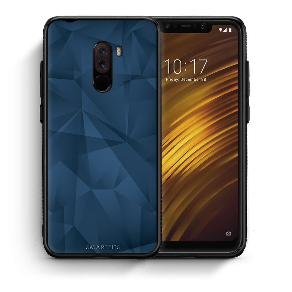 39 - Xiaomi Pocophone F1  Blue Abstract Geometric case, cover, bumper