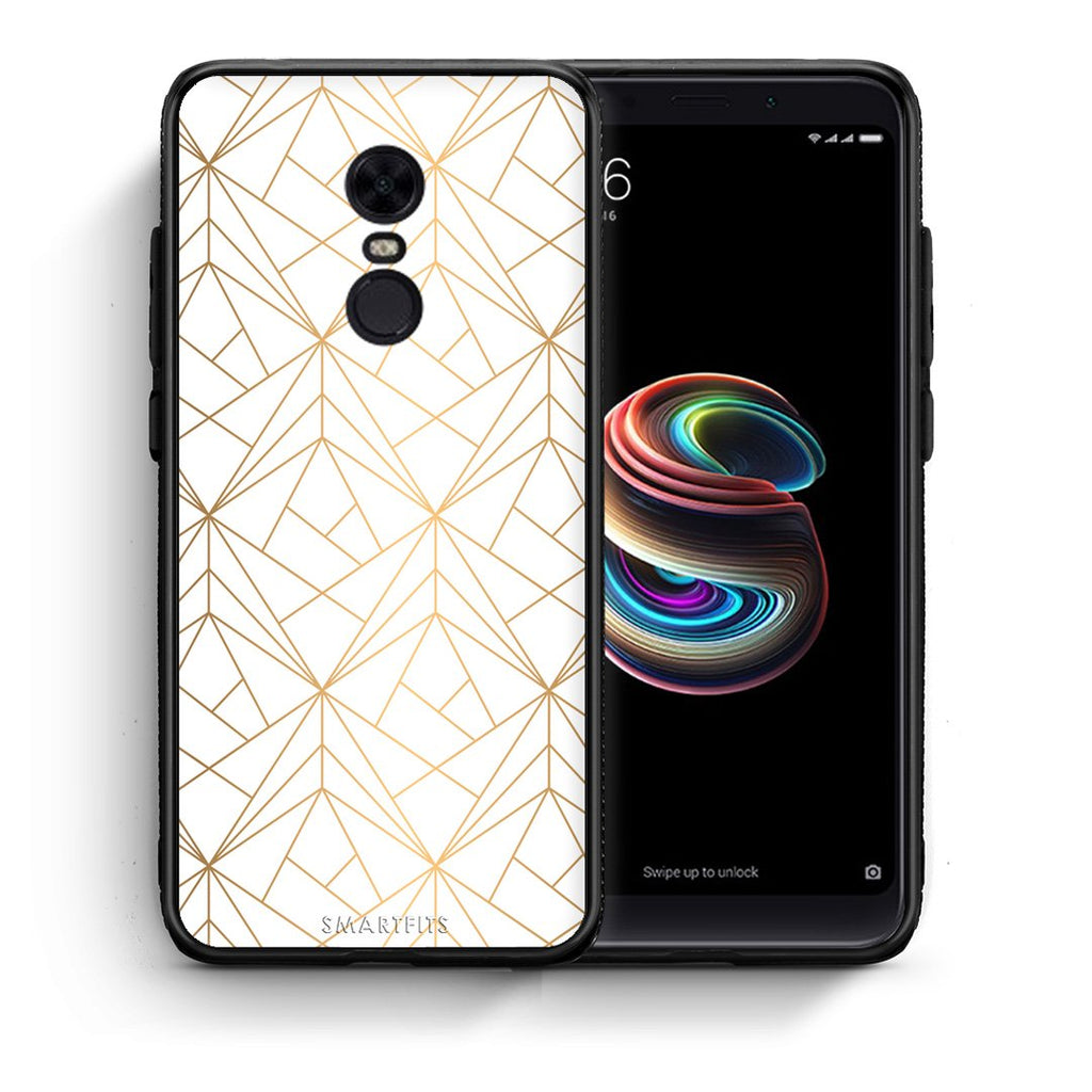 111 - Xiaomi Redmi 5 Plus  Luxury White Geometric case, cover, bumper