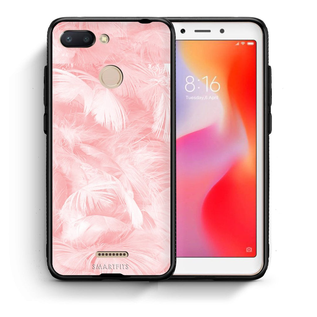 33 - Xiaomi Redmi 6  Pink Feather Boho case, cover, bumper