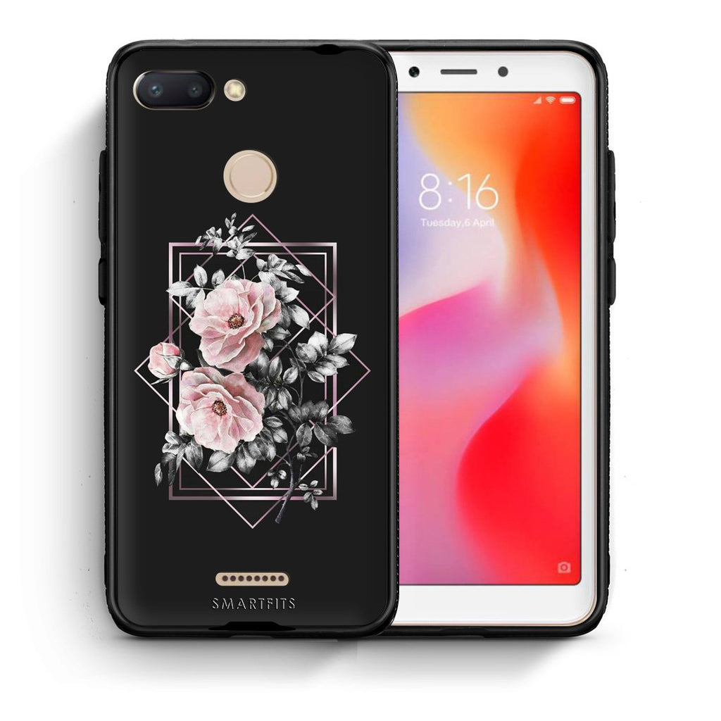 4 - Xiaomi Redmi 6 Frame Flower case, cover, bumper