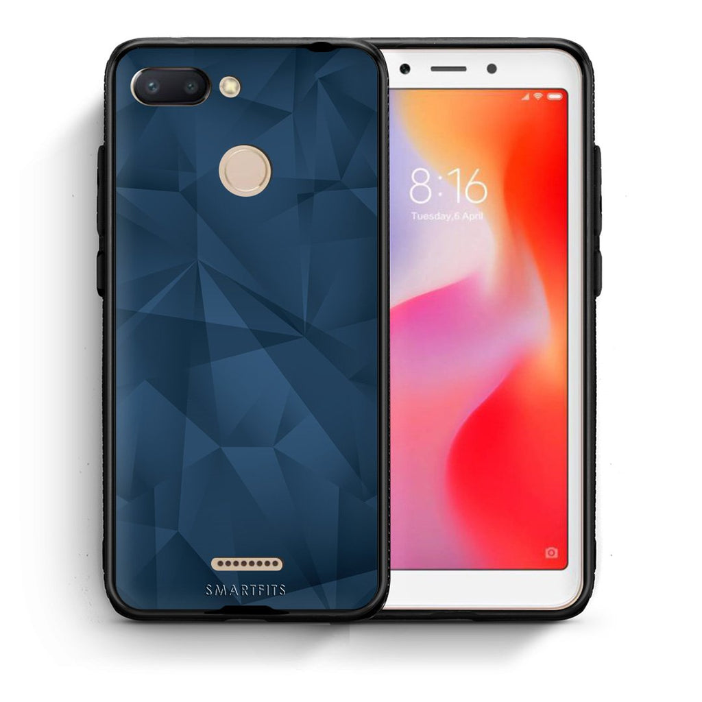 39 - Xiaomi Redmi 6  Blue Abstract Geometric case, cover, bumper