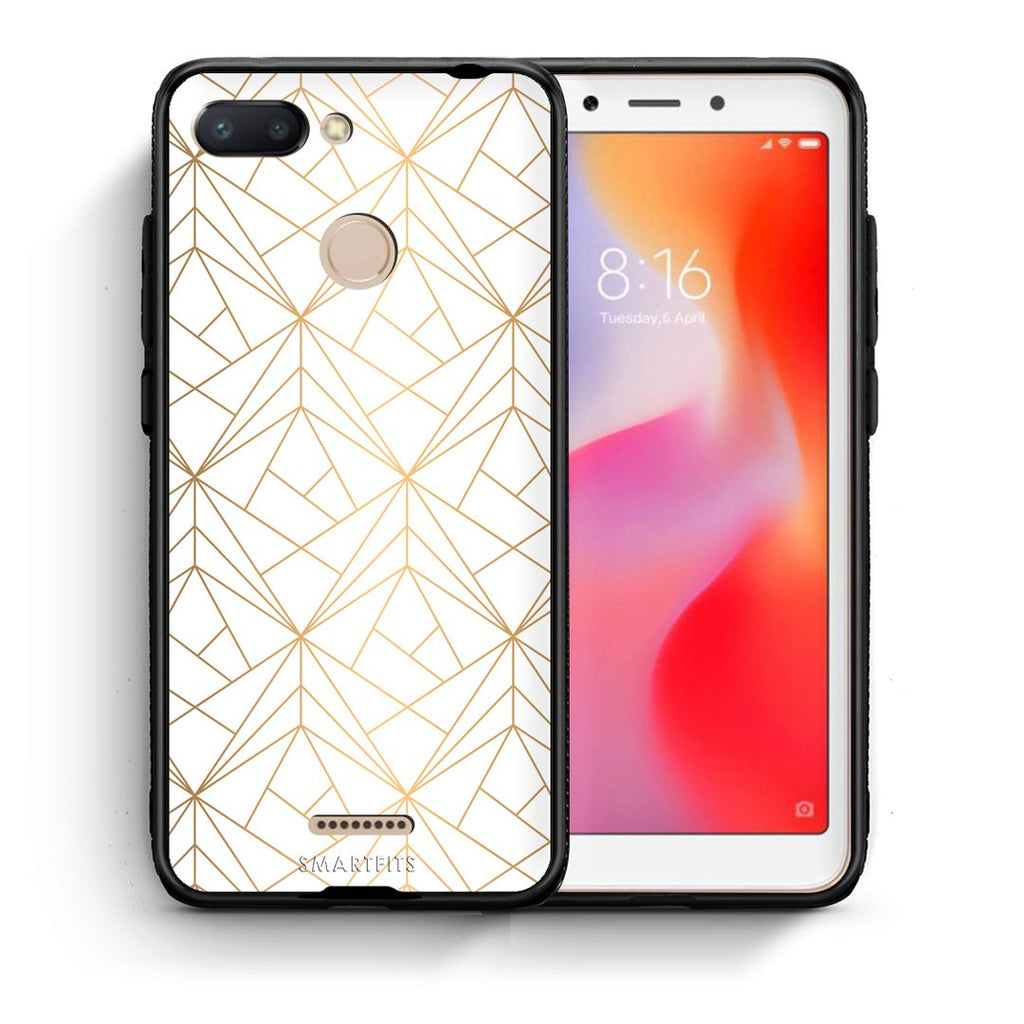 111 - Xiaomi Redmi 6  Luxury White Geometric case, cover, bumper