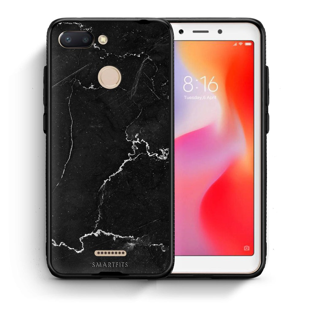 1 - Xiaomi Redmi 6  black marble case, cover, bumper