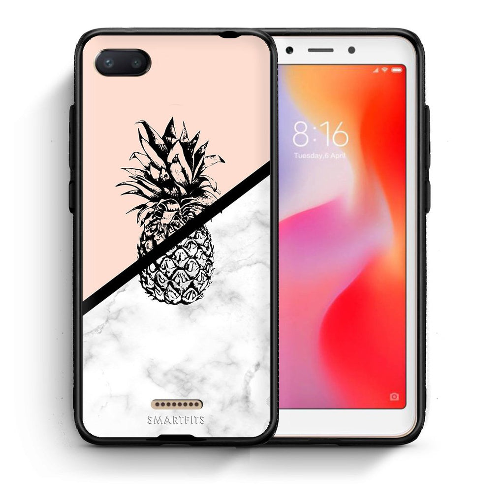 4 - Xiaomi Redmi 6A Pineapple Marble case, cover, bumper