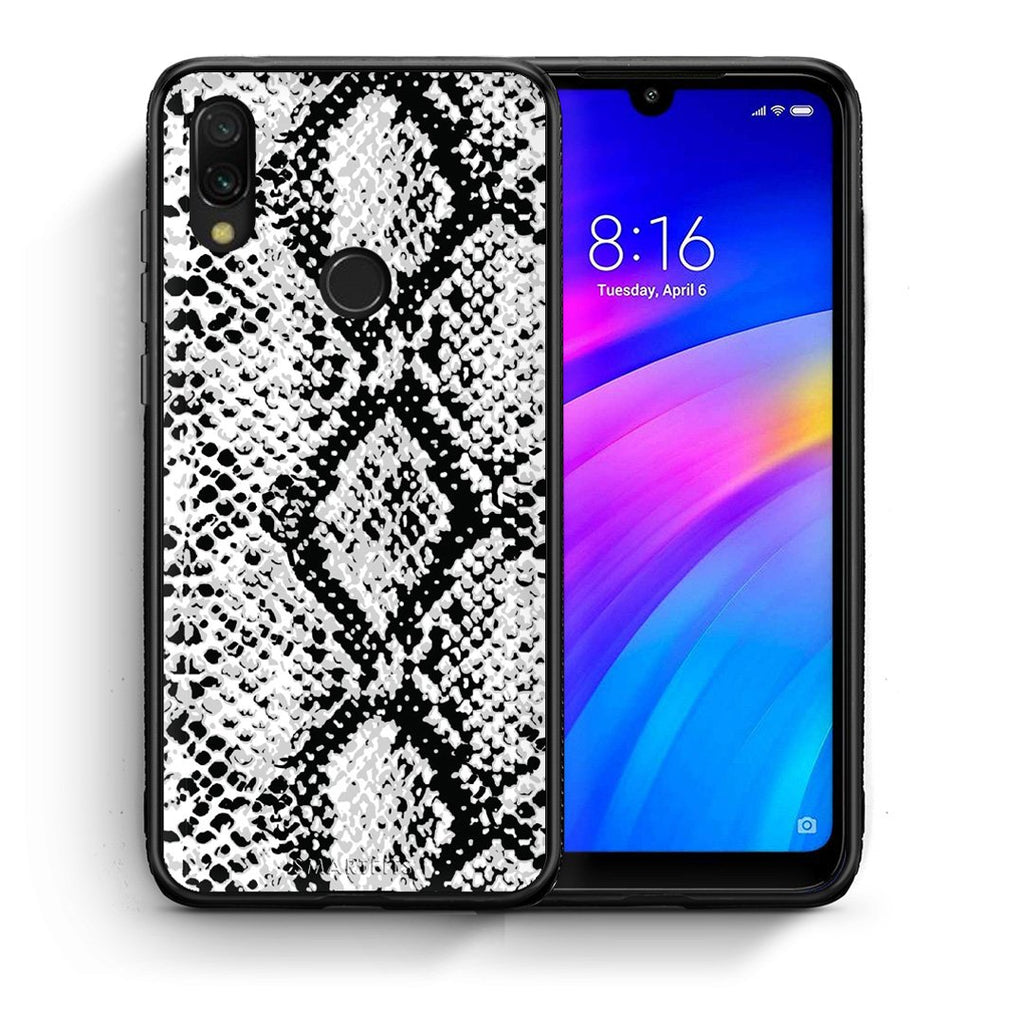 24 - Xiaomi Redmi 7 White Snake Animal case, cover, bumper