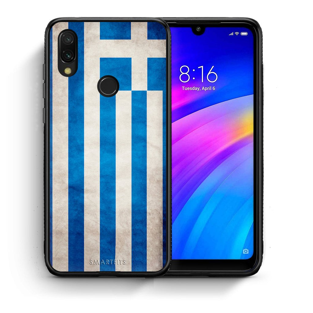 4 - Xiaomi Redmi 7 Greece Flag case, cover, bumper