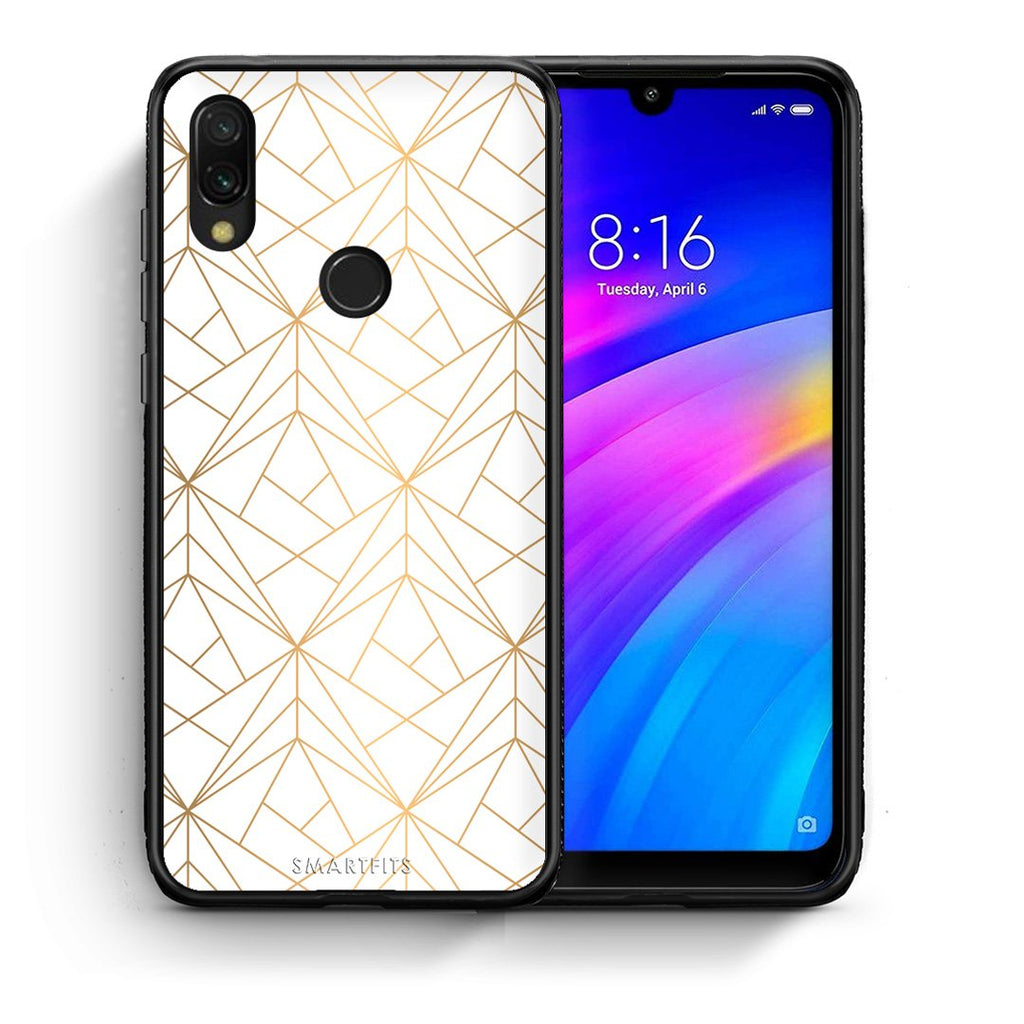 111 - Xiaomi Redmi 7 Luxury White Geometric case, cover, bumper