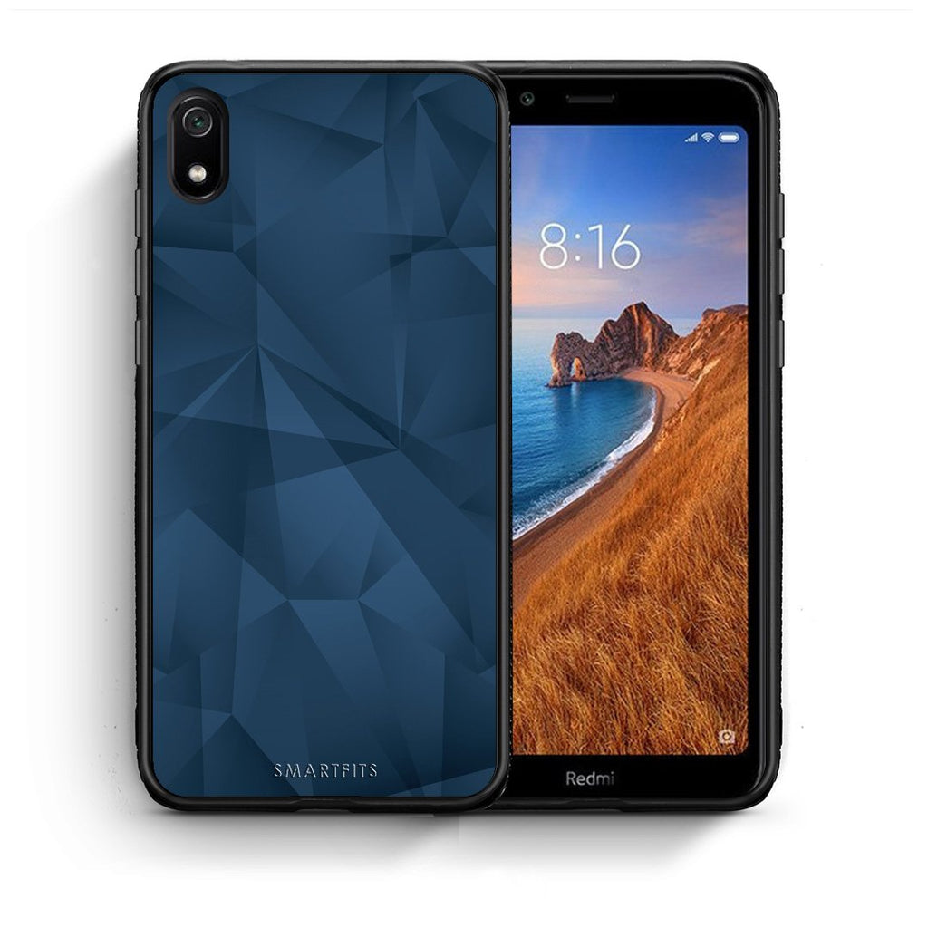 39 - Xiaomi Redmi 7A Blue Abstract Geometric case, cover, bumper