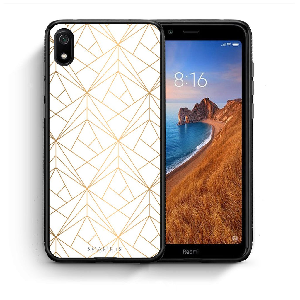 111 - Xiaomi Redmi 7A Luxury White Geometric case, cover, bumper