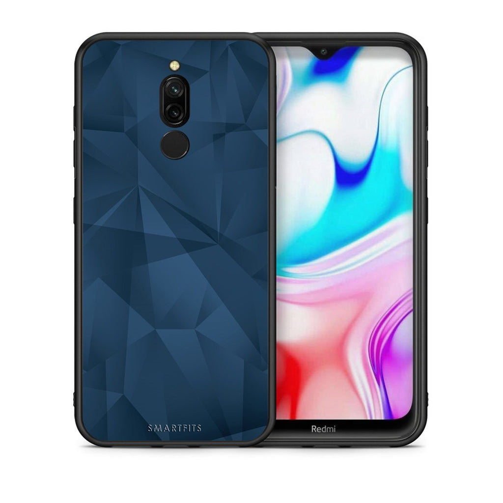39 - Xiaomi Redmi 8 Blue Abstract Geometric case, cover, bumper