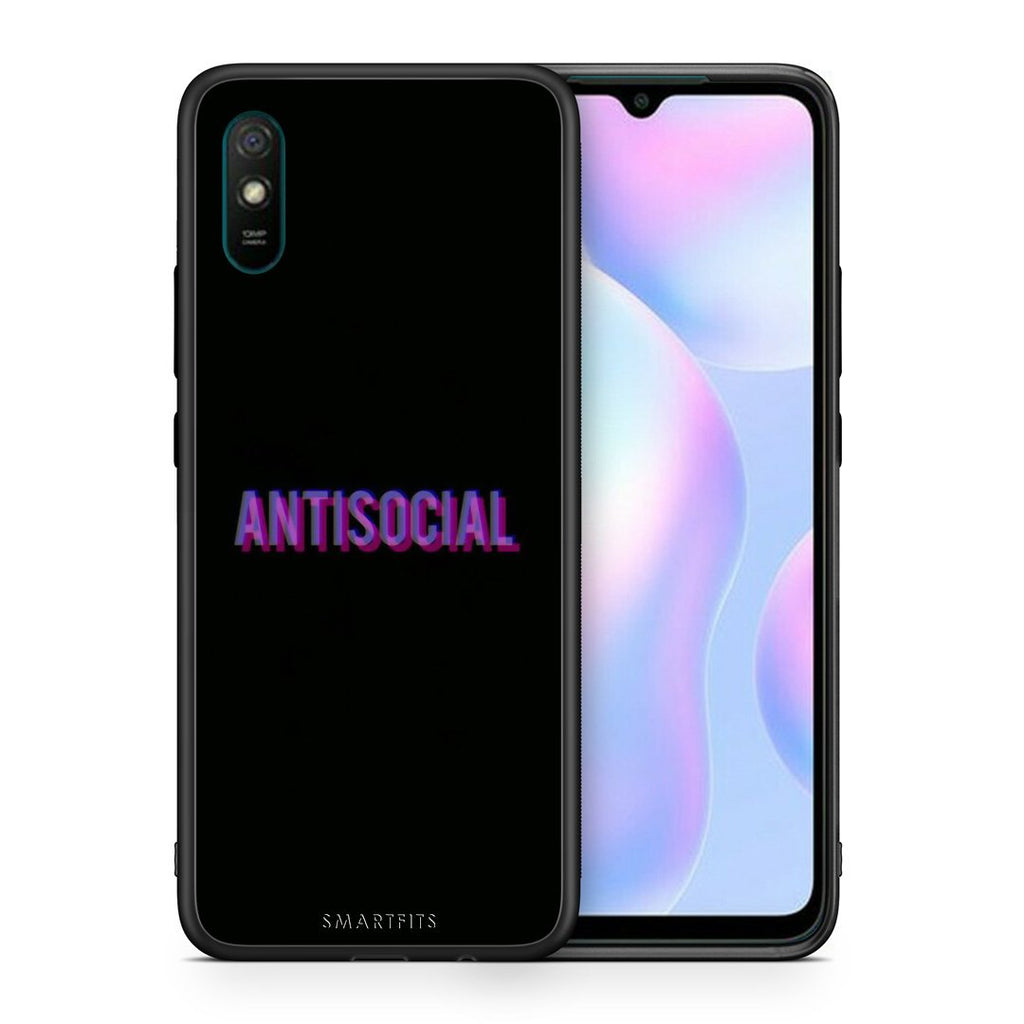 Θήκη Xiaomi Redmi 9A Antisocial Person από τη Smartfits με σχέδιο στο πίσω μέρος και μαύρο περίβλημα | Xiaomi Redmi 9A Antisocial Person case with colorful back and black bezels