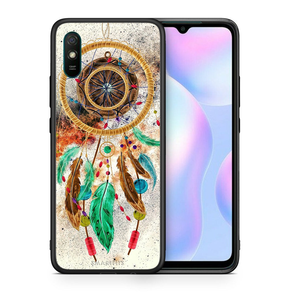Θήκη Xiaomi Redmi 9A DreamCatcher Boho από τη Smartfits με σχέδιο στο πίσω μέρος και μαύρο περίβλημα | Xiaomi Redmi 9A DreamCatcher Boho case with colorful back and black bezels