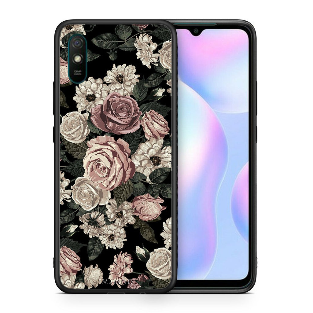 Θήκη Xiaomi Redmi 9A Wild Roses Flower από τη Smartfits με σχέδιο στο πίσω μέρος και μαύρο περίβλημα | Xiaomi Redmi 9A Wild Roses Flower case with colorful back and black bezels