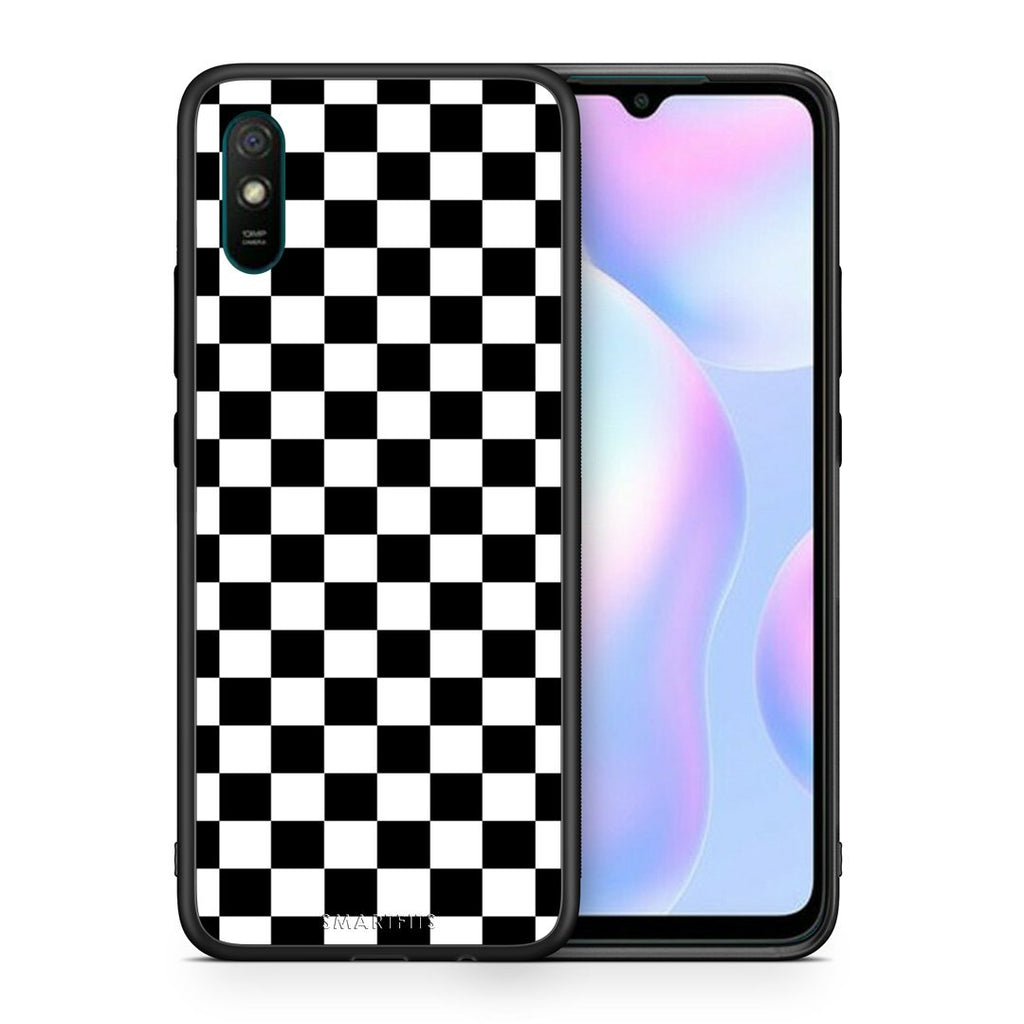 Θήκη Xiaomi Redmi 9A Squares Geometric από τη Smartfits με σχέδιο στο πίσω μέρος και μαύρο περίβλημα | Xiaomi Redmi 9A Squares Geometric case with colorful back and black bezels