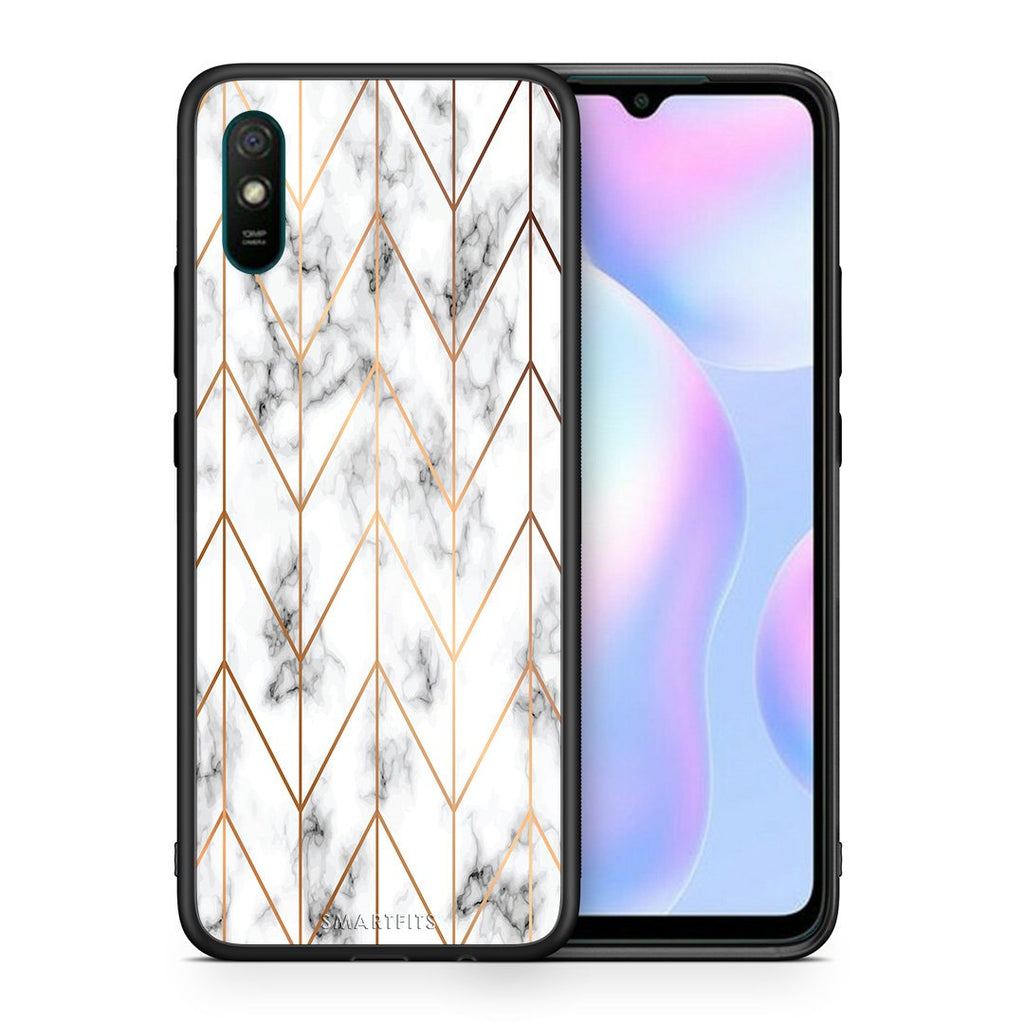 Θήκη Xiaomi Redmi 9A Gold Geometric Marble από τη Smartfits με σχέδιο στο πίσω μέρος και μαύρο περίβλημα | Xiaomi Redmi 9A Gold Geometric Marble case with colorful back and black bezels