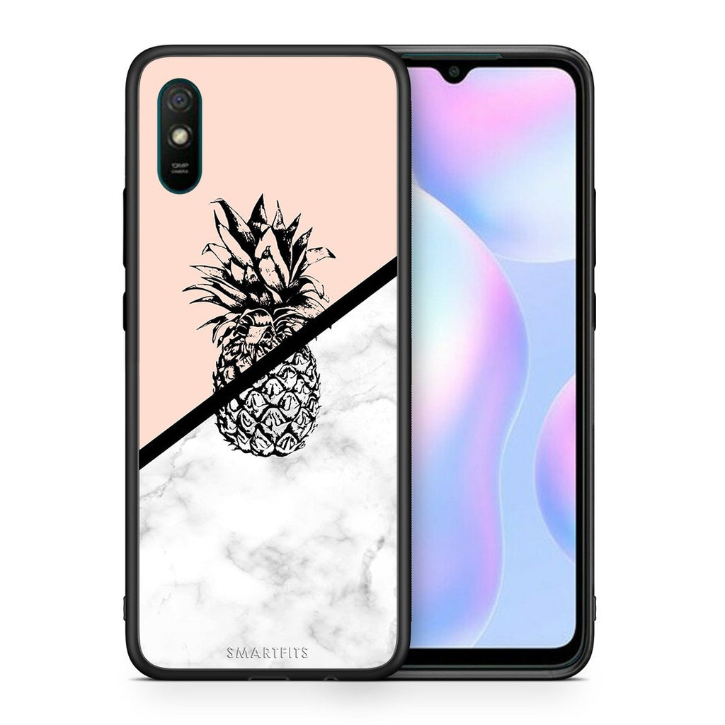 Θήκη Xiaomi Redmi 9A Pineapple Marble από τη Smartfits με σχέδιο στο πίσω μέρος και μαύρο περίβλημα | Xiaomi Redmi 9A Pineapple Marble case with colorful back and black bezels