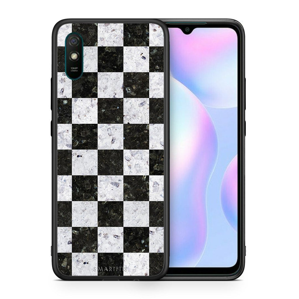 Θήκη Xiaomi Redmi 9A Square Geometric Marble από τη Smartfits με σχέδιο στο πίσω μέρος και μαύρο περίβλημα | Xiaomi Redmi 9A Square Geometric Marble case with colorful back and black bezels