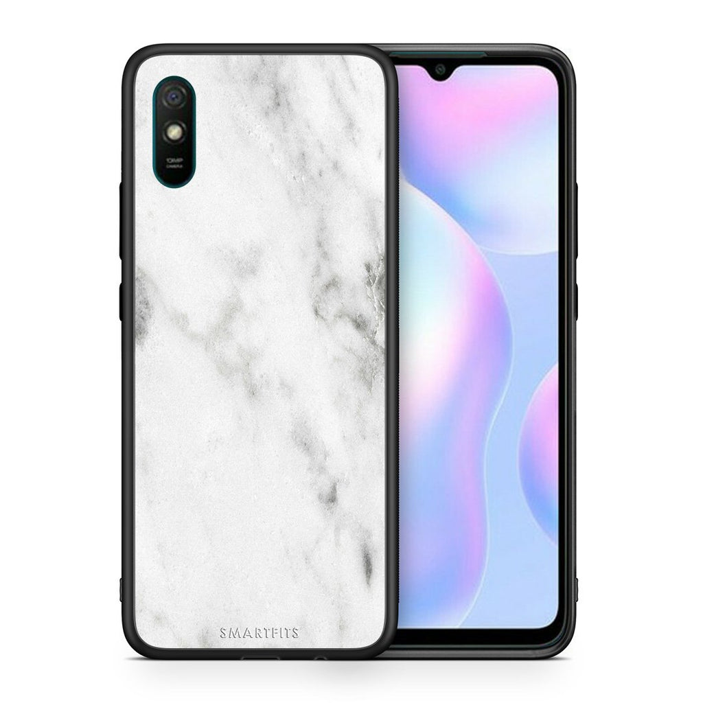 Θήκη Xiaomi Redmi 9A White Marble από τη Smartfits με σχέδιο στο πίσω μέρος και μαύρο περίβλημα | Xiaomi Redmi 9A White Marble case with colorful back and black bezels