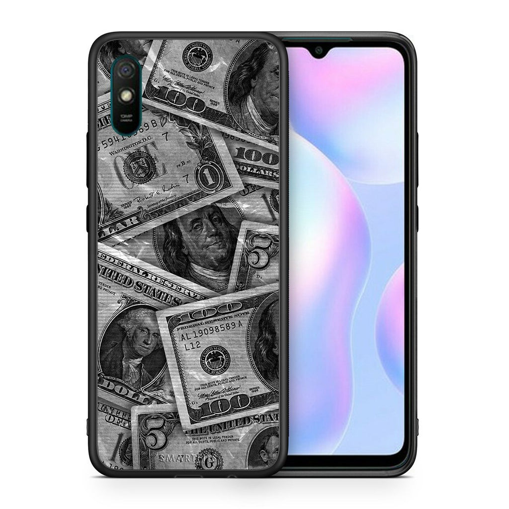 Θήκη Xiaomi Redmi 9A Money Dollars από τη Smartfits με σχέδιο στο πίσω μέρος και μαύρο περίβλημα | Xiaomi Redmi 9A Money Dollars case with colorful back and black bezels