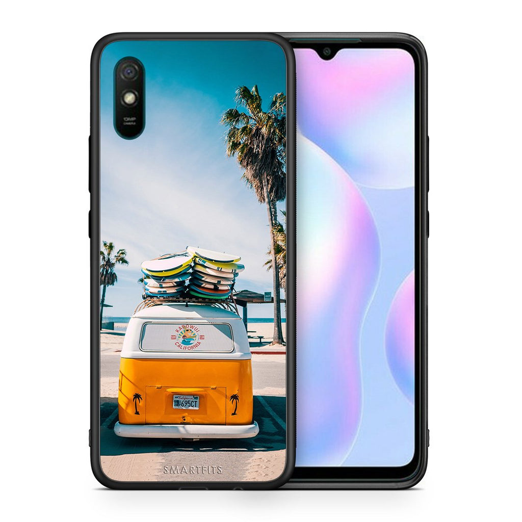 Θήκη Xiaomi Redmi 9A Travel Summer από τη Smartfits με σχέδιο στο πίσω μέρος και μαύρο περίβλημα | Xiaomi Redmi 9A Travel Summer case with colorful back and black bezels