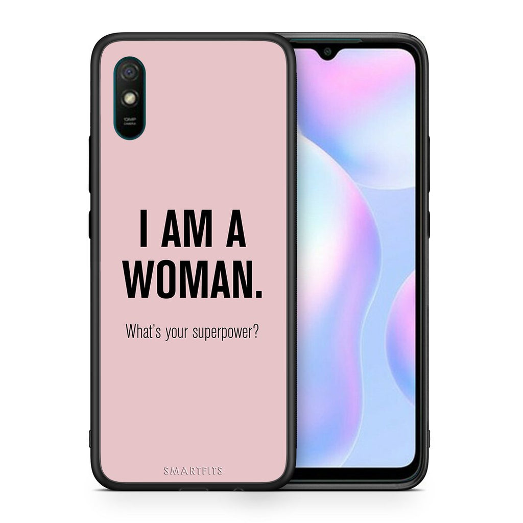 Θήκη Xiaomi Redmi 9A Superpower Woman από τη Smartfits με σχέδιο στο πίσω μέρος και μαύρο περίβλημα | Xiaomi Redmi 9A Superpower Woman case with colorful back and black bezels