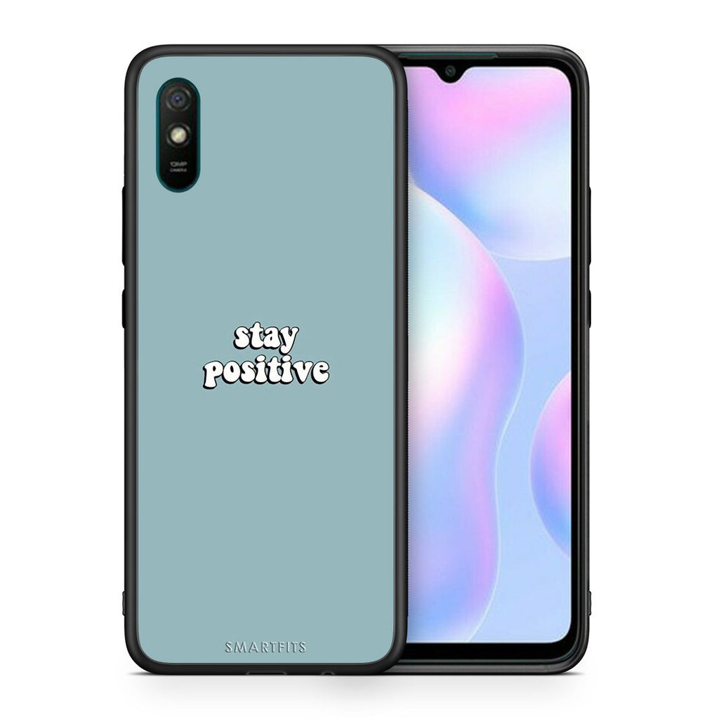 Θήκη Xiaomi Redmi 9A Positive Text από τη Smartfits με σχέδιο στο πίσω μέρος και μαύρο περίβλημα | Xiaomi Redmi 9A Positive Text case with colorful back and black bezels