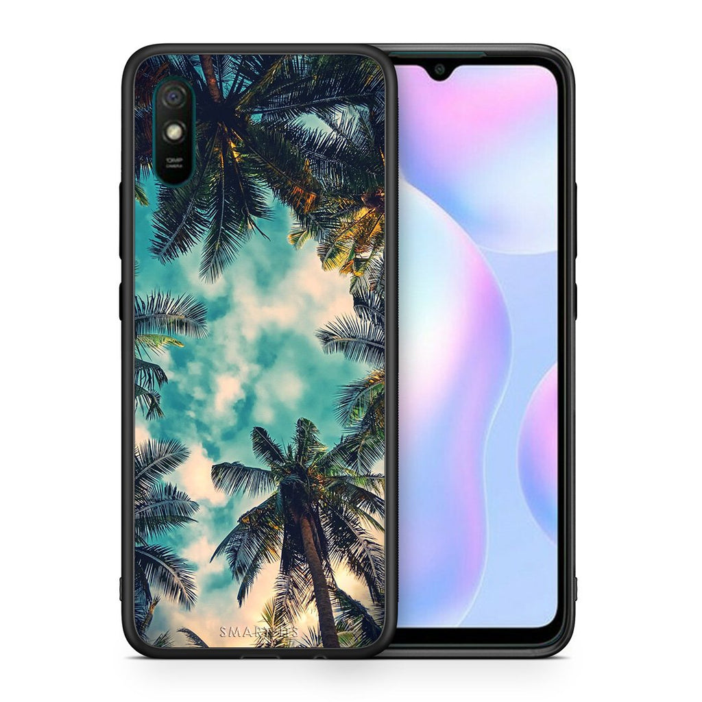 Θήκη Xiaomi Redmi 9A Bel Air Tropic από τη Smartfits με σχέδιο στο πίσω μέρος και μαύρο περίβλημα | Xiaomi Redmi 9A Bel Air Tropic case with colorful back and black bezels