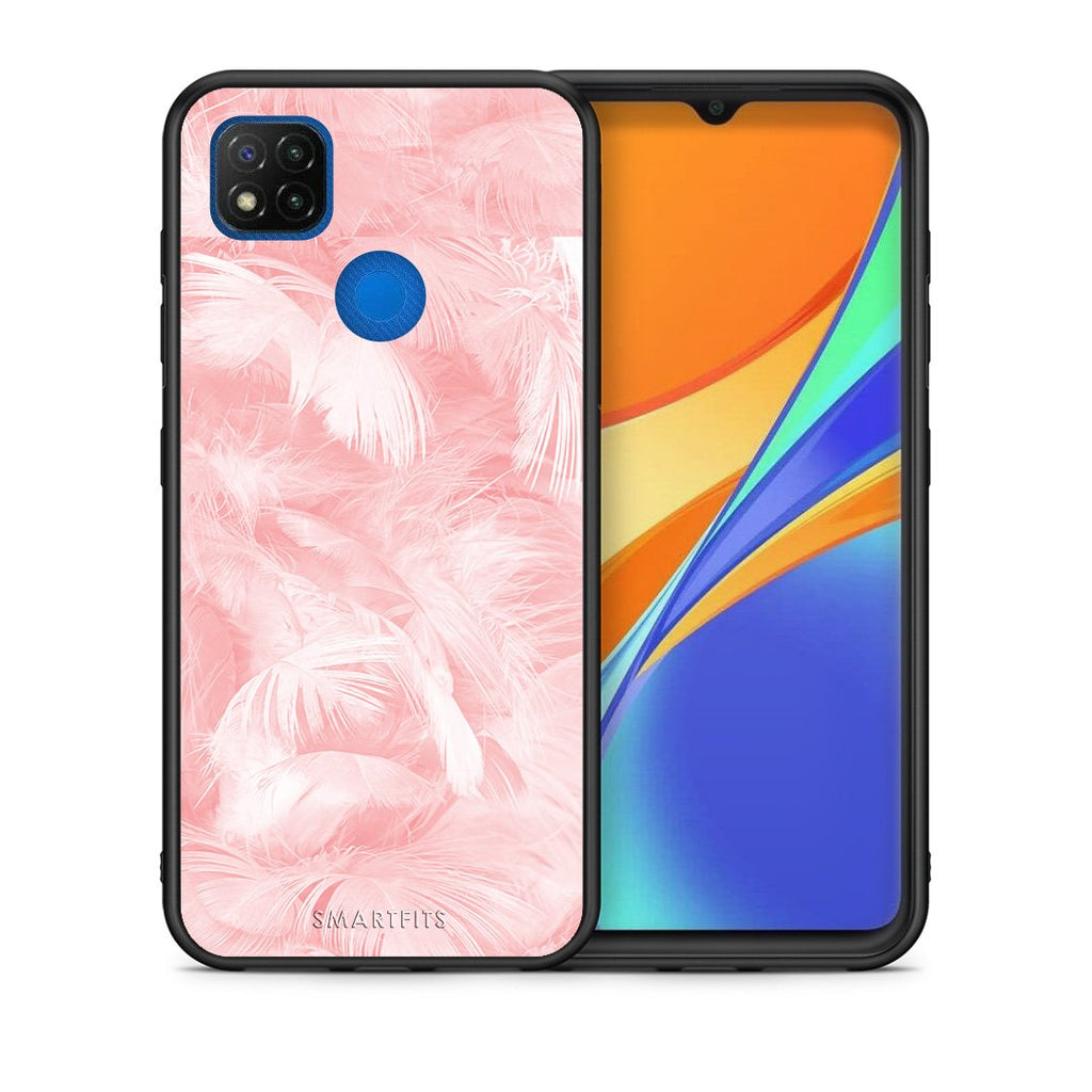 Θήκη Xiaomi Redmi 9C Pink Feather Boho από τη Smartfits με σχέδιο στο πίσω μέρος και μαύρο περίβλημα | Xiaomi Redmi 9C Pink Feather Boho case with colorful back and black bezels