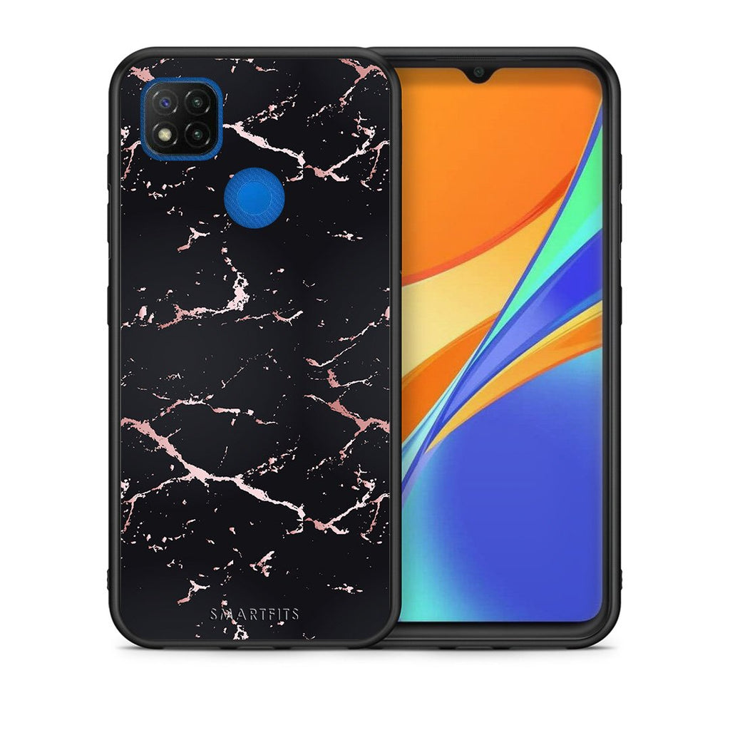 Θήκη Xiaomi Redmi 9C Black Rosegold Marble από τη Smartfits με σχέδιο στο πίσω μέρος και μαύρο περίβλημα | Xiaomi Redmi 9C Black Rosegold Marble case with colorful back and black bezels