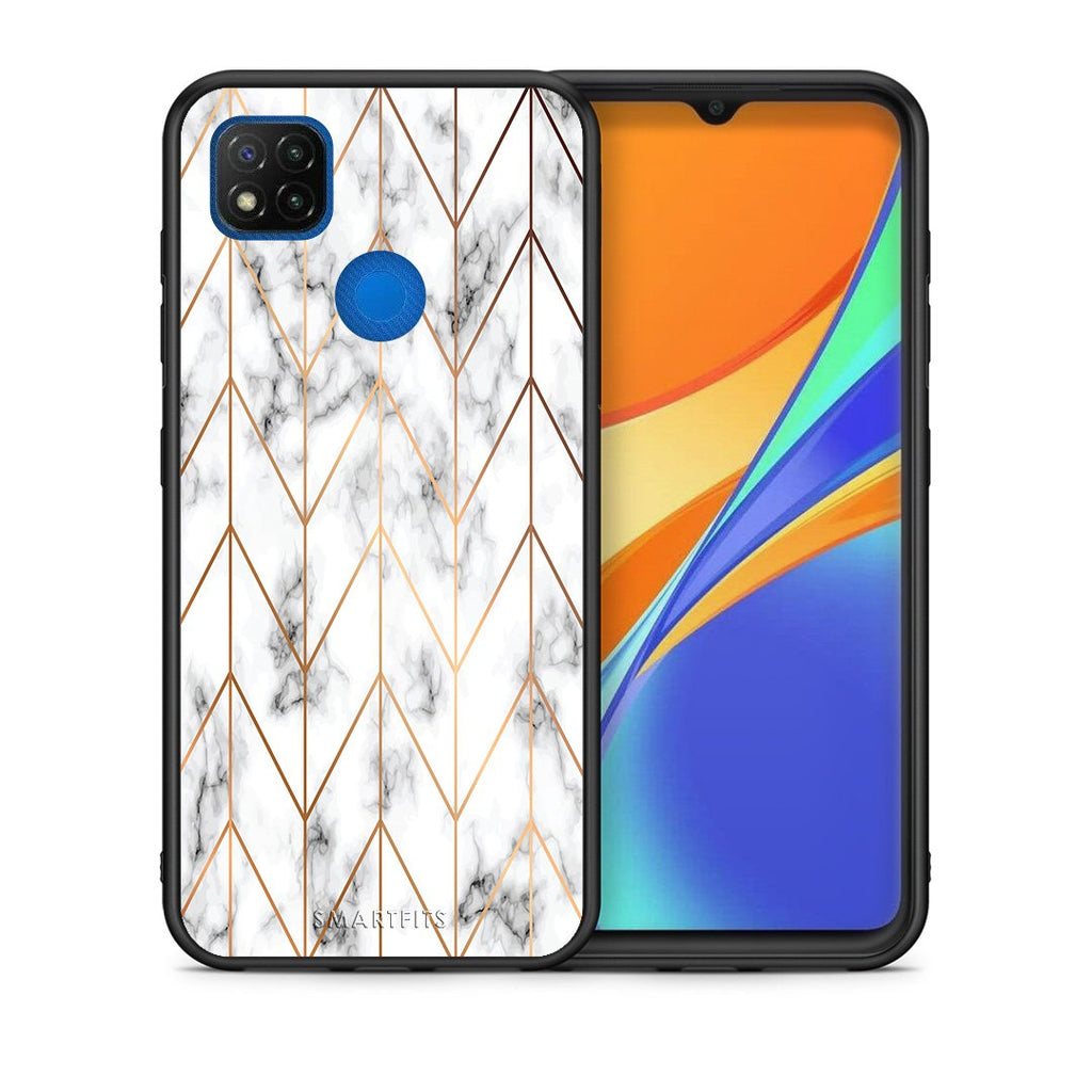 Θήκη Xiaomi Redmi 9C Gold Geometric Marble από τη Smartfits με σχέδιο στο πίσω μέρος και μαύρο περίβλημα | Xiaomi Redmi 9C Gold Geometric Marble case with colorful back and black bezels