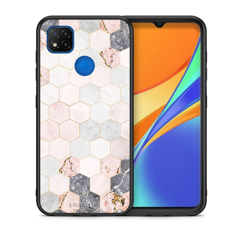 Θήκη Xiaomi Redmi 9C Hexagon Pink Marble από τη Smartfits με σχέδιο στο πίσω μέρος και μαύρο περίβλημα | Xiaomi Redmi 9C Hexagon Pink Marble case with colorful back and black bezels