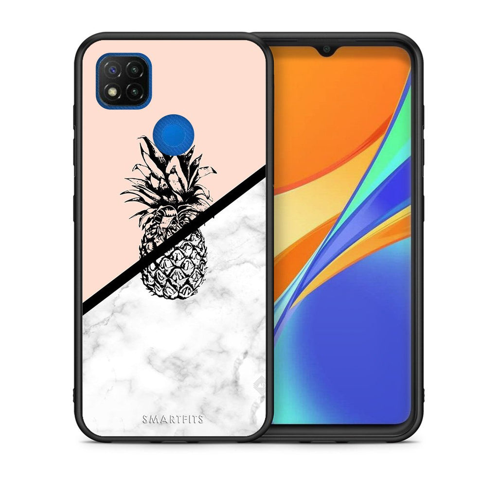 Θήκη Xiaomi Redmi 9C Pineapple Marble από τη Smartfits με σχέδιο στο πίσω μέρος και μαύρο περίβλημα | Xiaomi Redmi 9C Pineapple Marble case with colorful back and black bezels