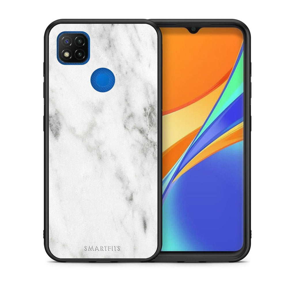 Θήκη Xiaomi Redmi 9C White Marble από τη Smartfits με σχέδιο στο πίσω μέρος και μαύρο περίβλημα | Xiaomi Redmi 9C White Marble case with colorful back and black bezels