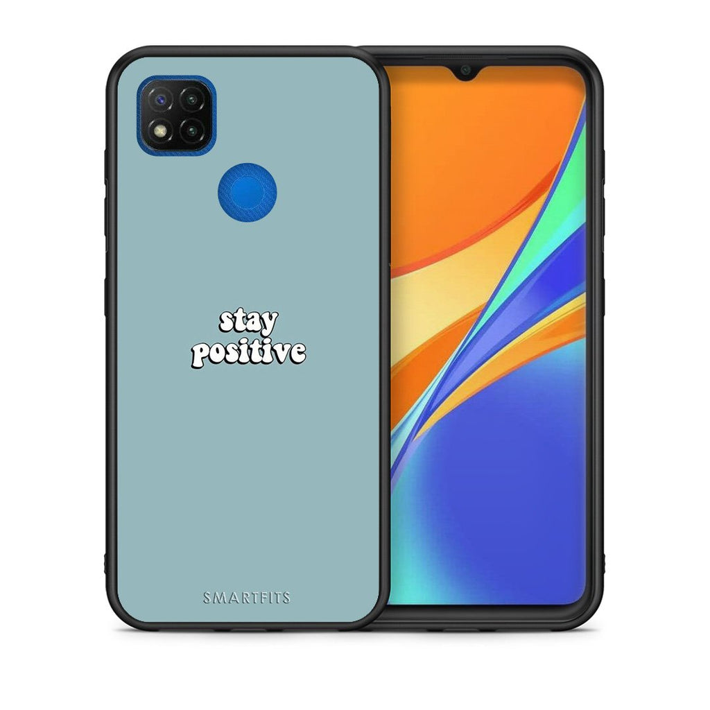 Θήκη Xiaomi Redmi 9C Positive Text από τη Smartfits με σχέδιο στο πίσω μέρος και μαύρο περίβλημα | Xiaomi Redmi 9C Positive Text case with colorful back and black bezels