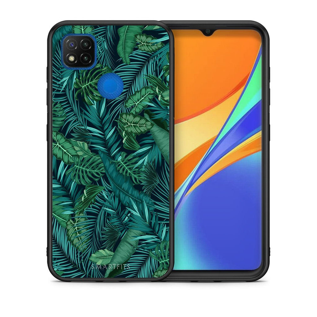 Θήκη Xiaomi Redmi 9C Leaves Tropic από τη Smartfits με σχέδιο στο πίσω μέρος και μαύρο περίβλημα | Xiaomi Redmi 9C Leaves Tropic case with colorful back and black bezels