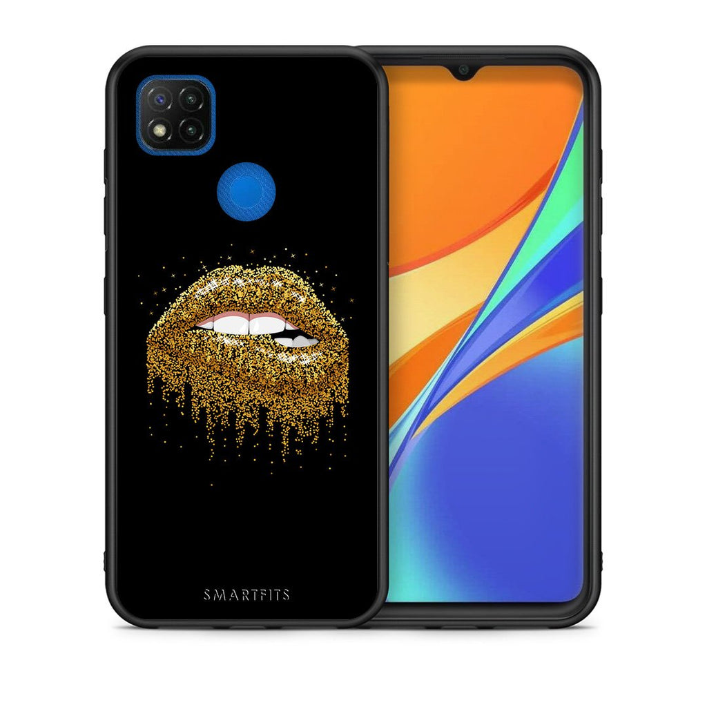 Θήκη Xiaomi Redmi 9C Golden Valentine από τη Smartfits με σχέδιο στο πίσω μέρος και μαύρο περίβλημα | Xiaomi Redmi 9C Golden Valentine case with colorful back and black bezels