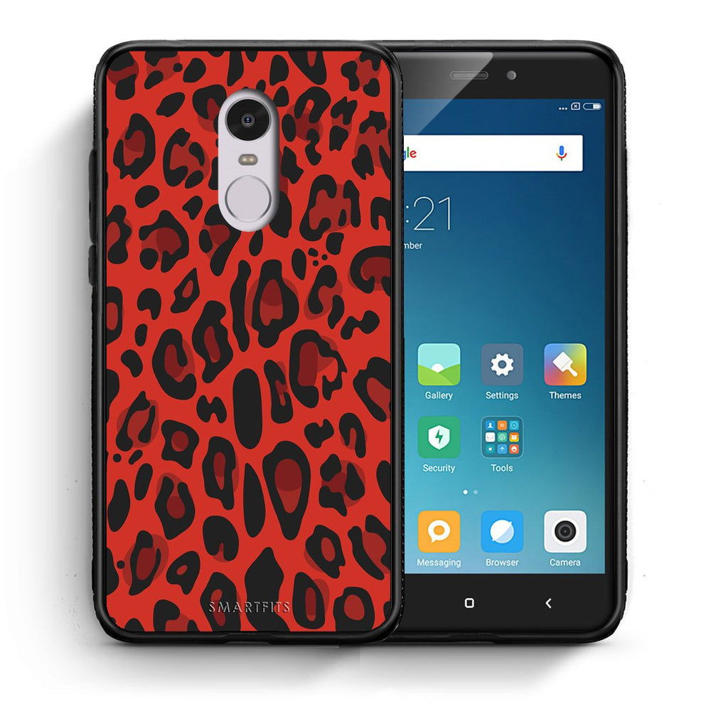4 - Xiaomi Redmi Note 4/4X Red Leopard Animal case, cover, bumper