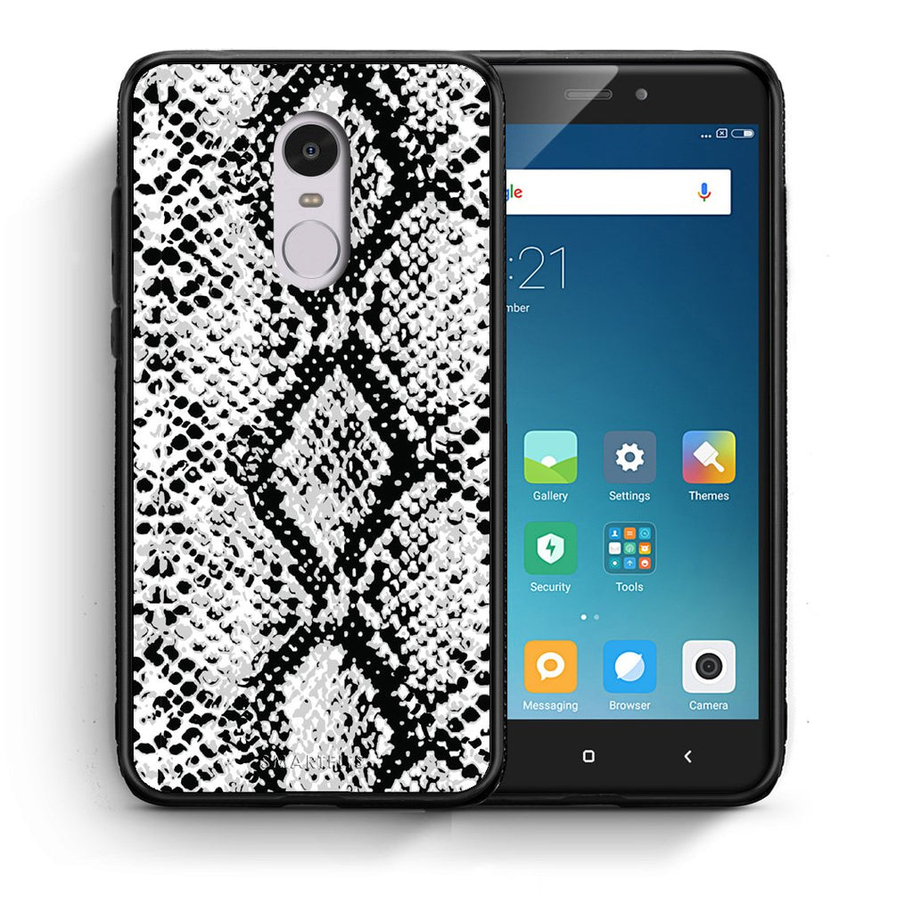 24 - Xiaomi Redmi Note 4/4X White Snake Animal case, cover, bumper