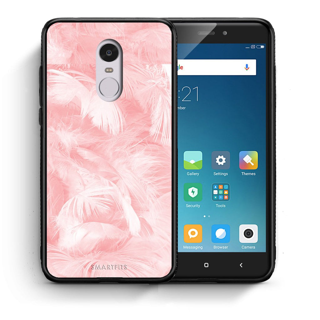 33 - Xiaomi Redmi Note 4/4X Pink Feather Boho case, cover, bumper