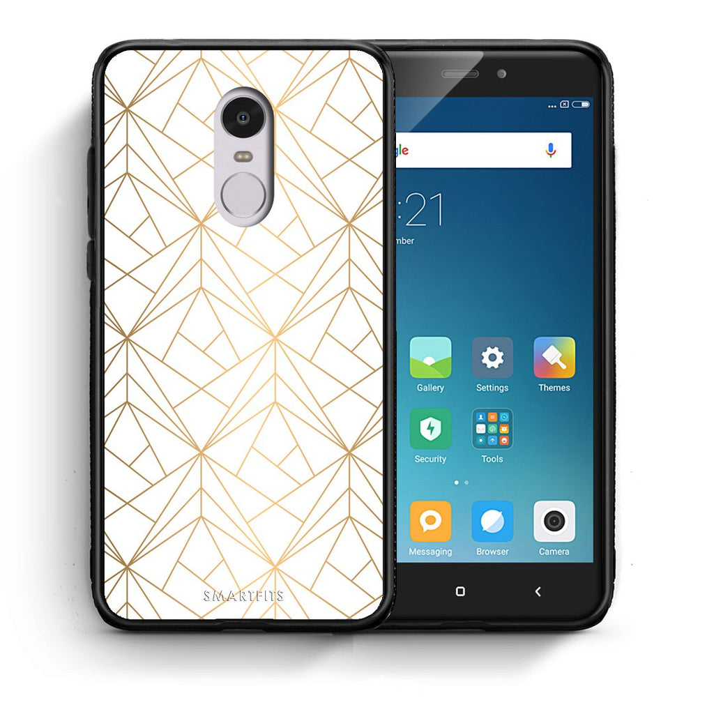 111 - Xiaomi Redmi Note 4/4X Luxury White Geometric case, cover, bumper