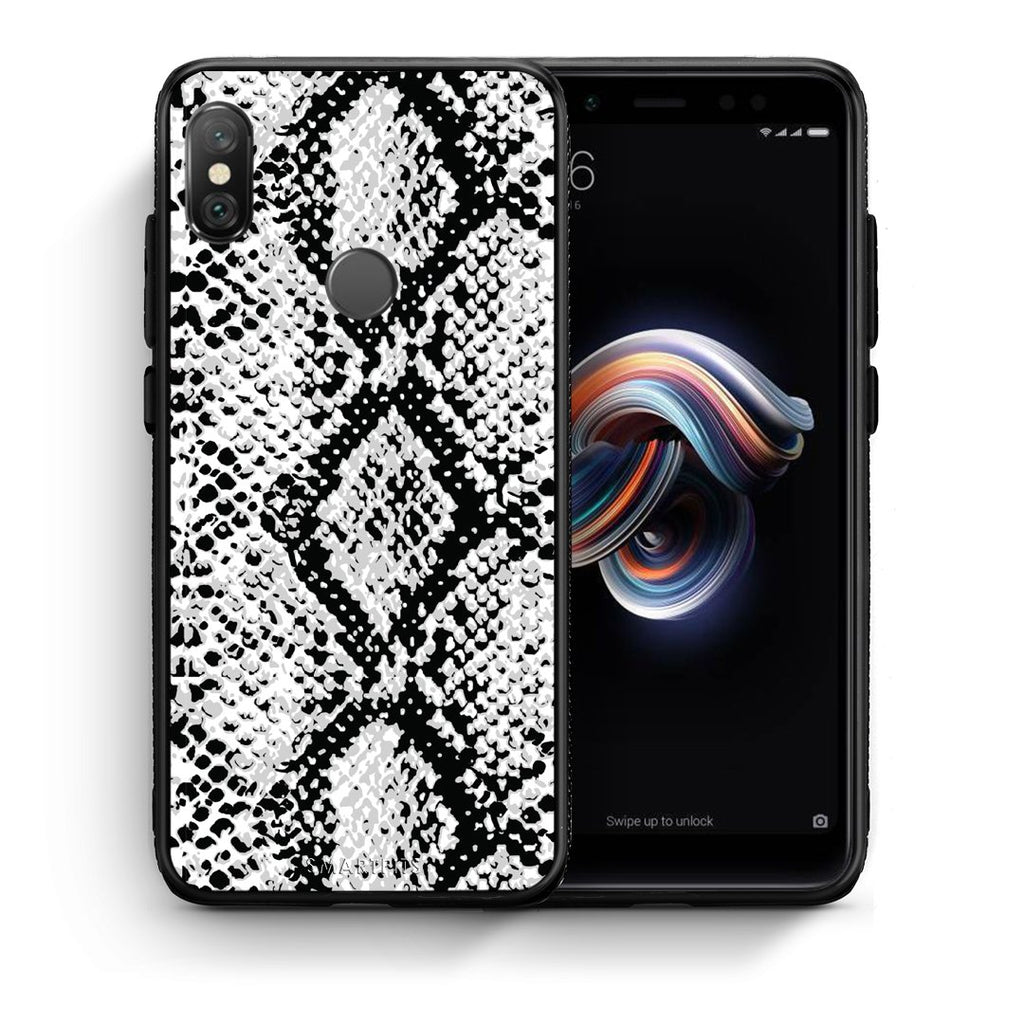 24 - Xiaomi Redmi Note 5 White Snake Animal case, cover, bumper