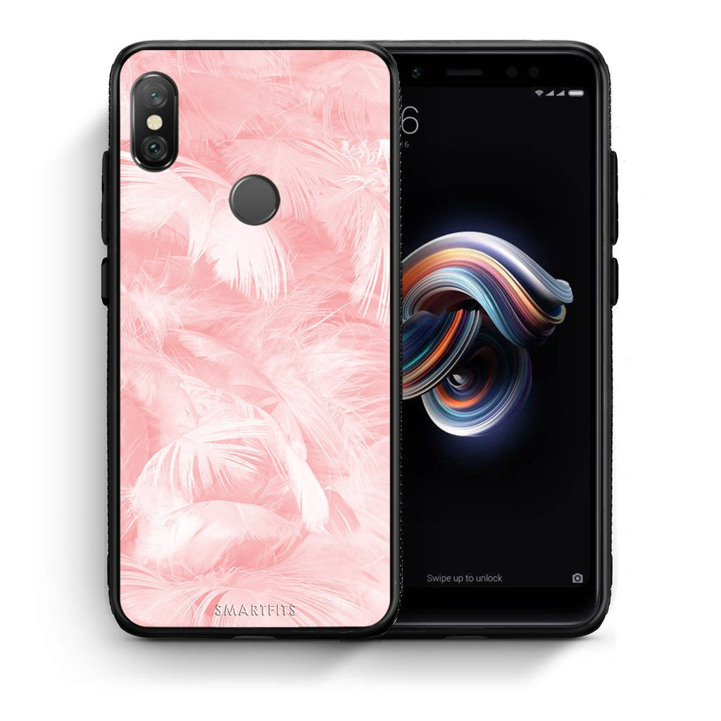 33 - Xiaomi Redmi Note 5 Pink Feather Boho case, cover, bumper