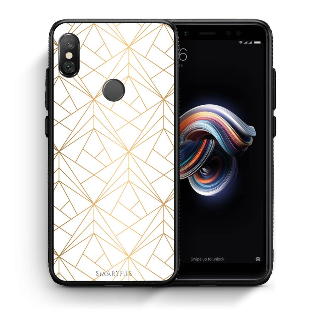 111 - Xiaomi Redmi Note 5 Luxury White Geometric case, cover, bumper