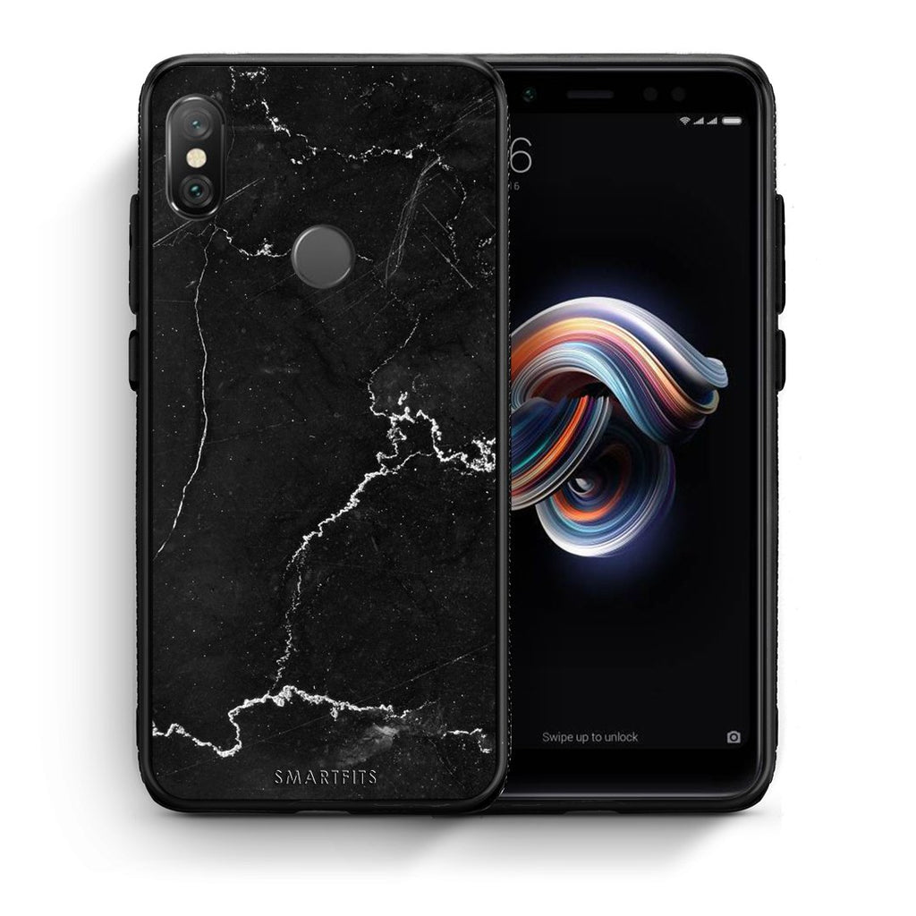 1 - Xiaomi Redmi Note 5 black marble case, cover, bumper