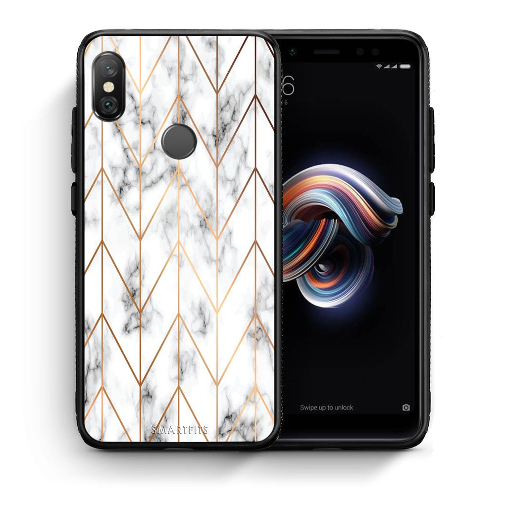 44 - Xiaomi Redmi Note 5 Gold Geometric Marble case, cover, bumper