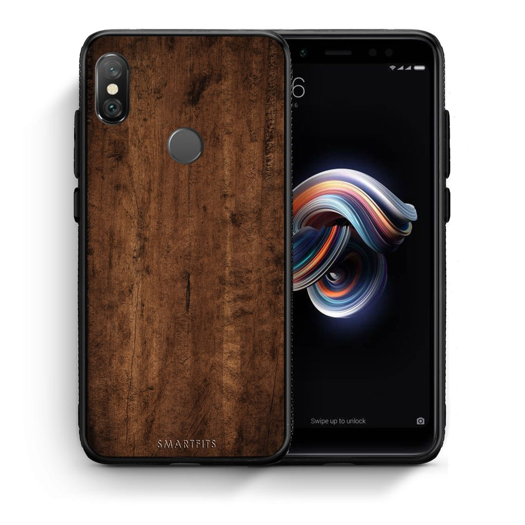 84 - Xiaomi Redmi Note 5 Dark Wood case, cover, bumper