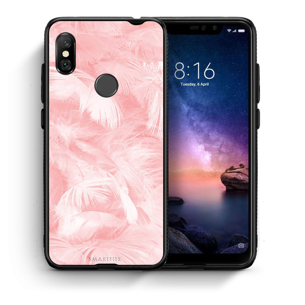 33 - Xiaomi Redmi Note 6 Pro  Pink Feather Boho case, cover, bumper